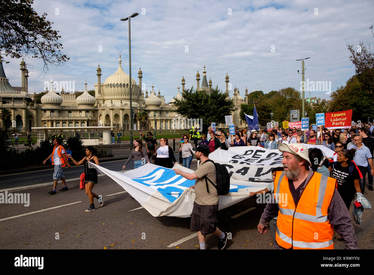 Brighton, UK. 24th Sep, 2017. Protestors in a pro-NHS demonstration formed mainly of NHS workers and organised by - Stock Image
