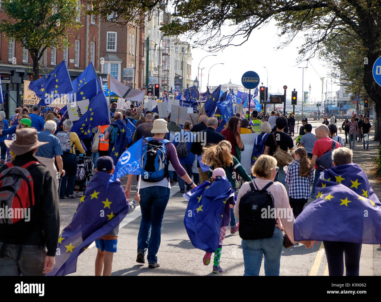 Brighton, UK. 24th Sep, 2017. Protestors in a pro-EU, anti-Brexit demonstration march as the Labour Party Conference - Stock Image