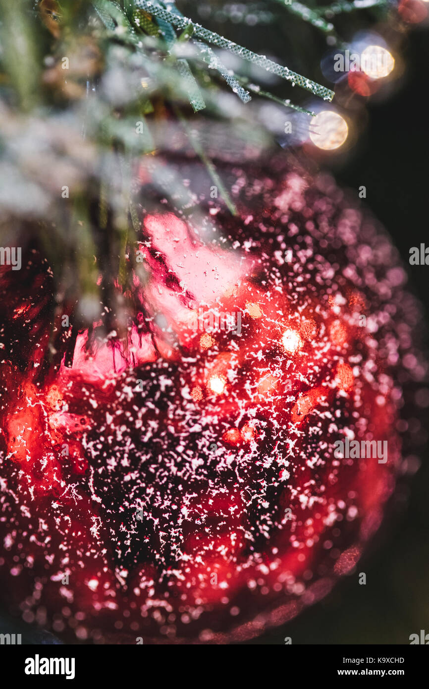 Beautiful New Year decorations, red shimmering ball in snow close-up on Christmas tree - Stock Image