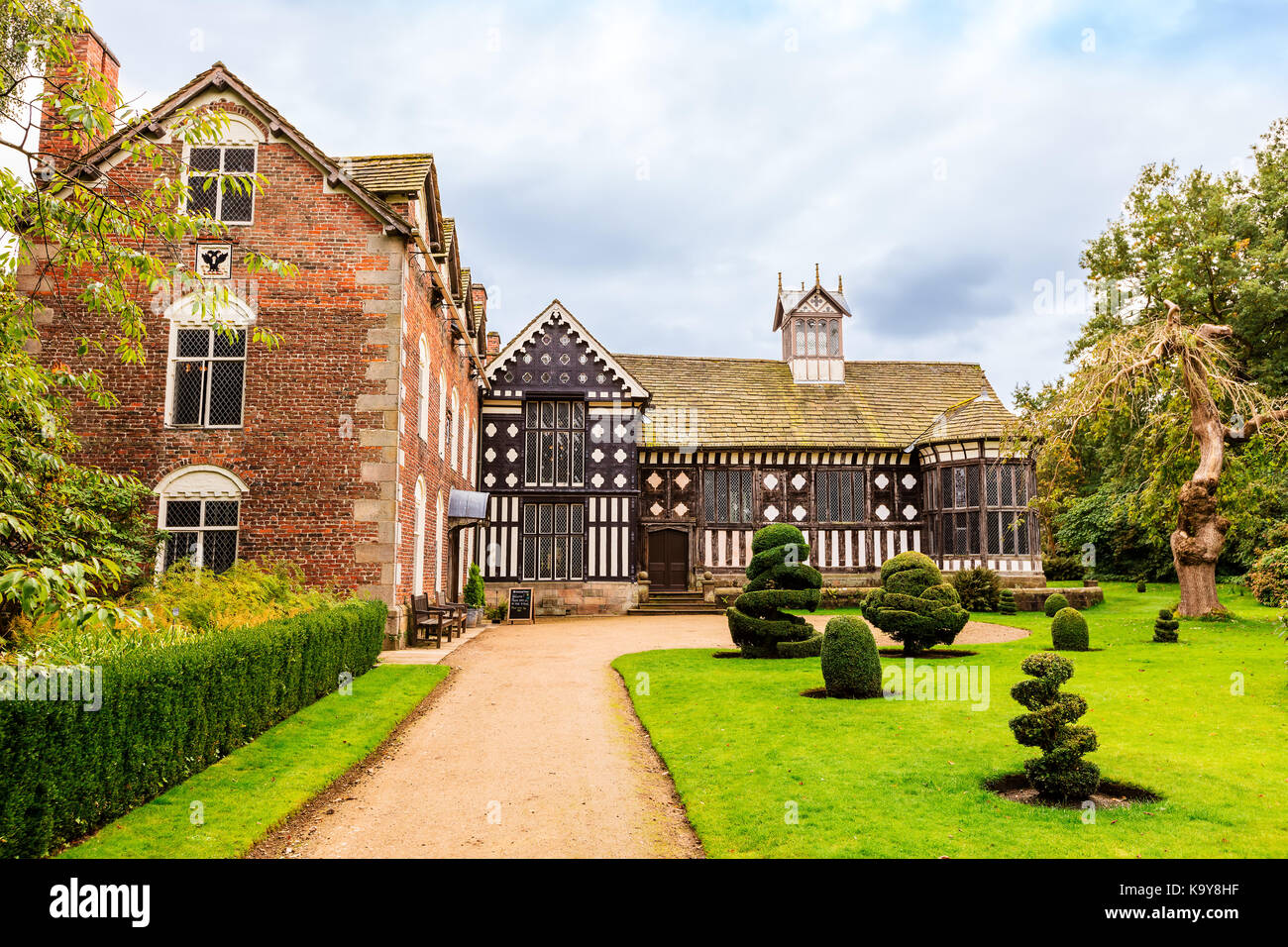 Historic Elizabethan mansion of Rufford Old Hall and garden. - Stock Image