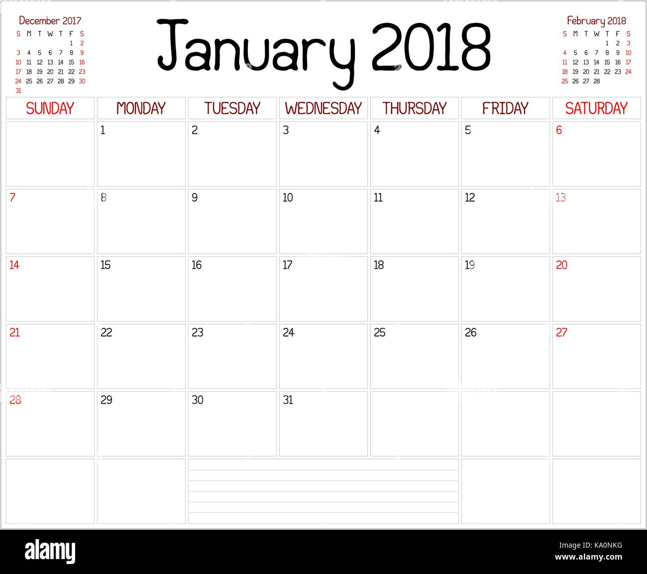 Year 2018 January Planner - A monthly planner calendar for ...