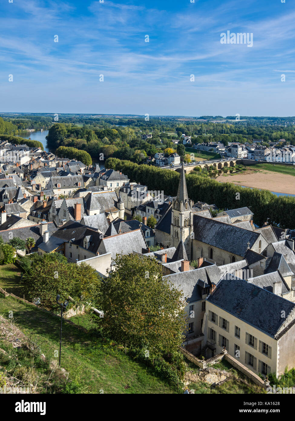 Overhead view of Chinon town from chateau - France. - Stock Image