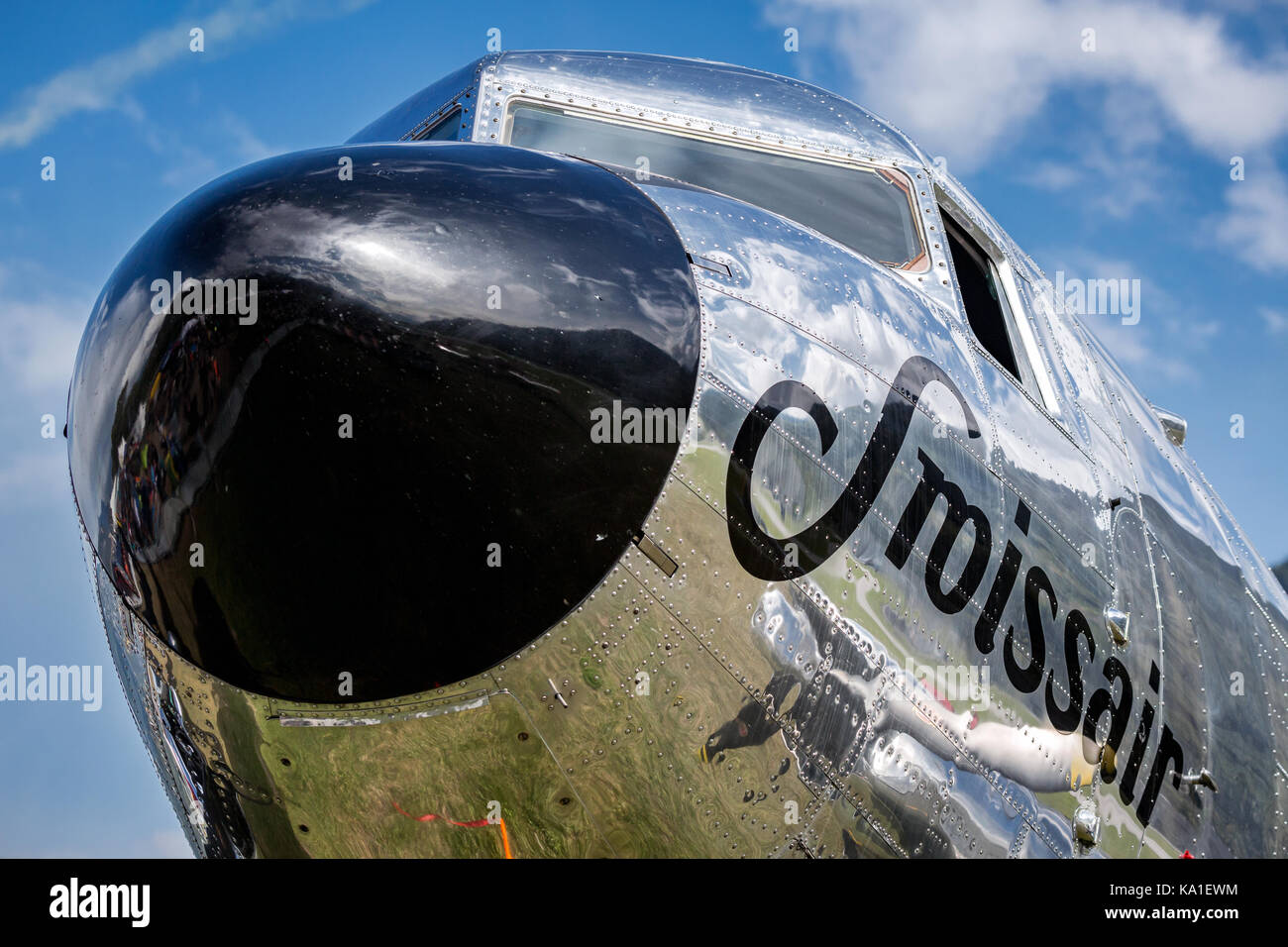 Close up of a Douglas DC-3, propeller airliner, Sion Airshow, Sion, Valais, Switzerland - Stock Image