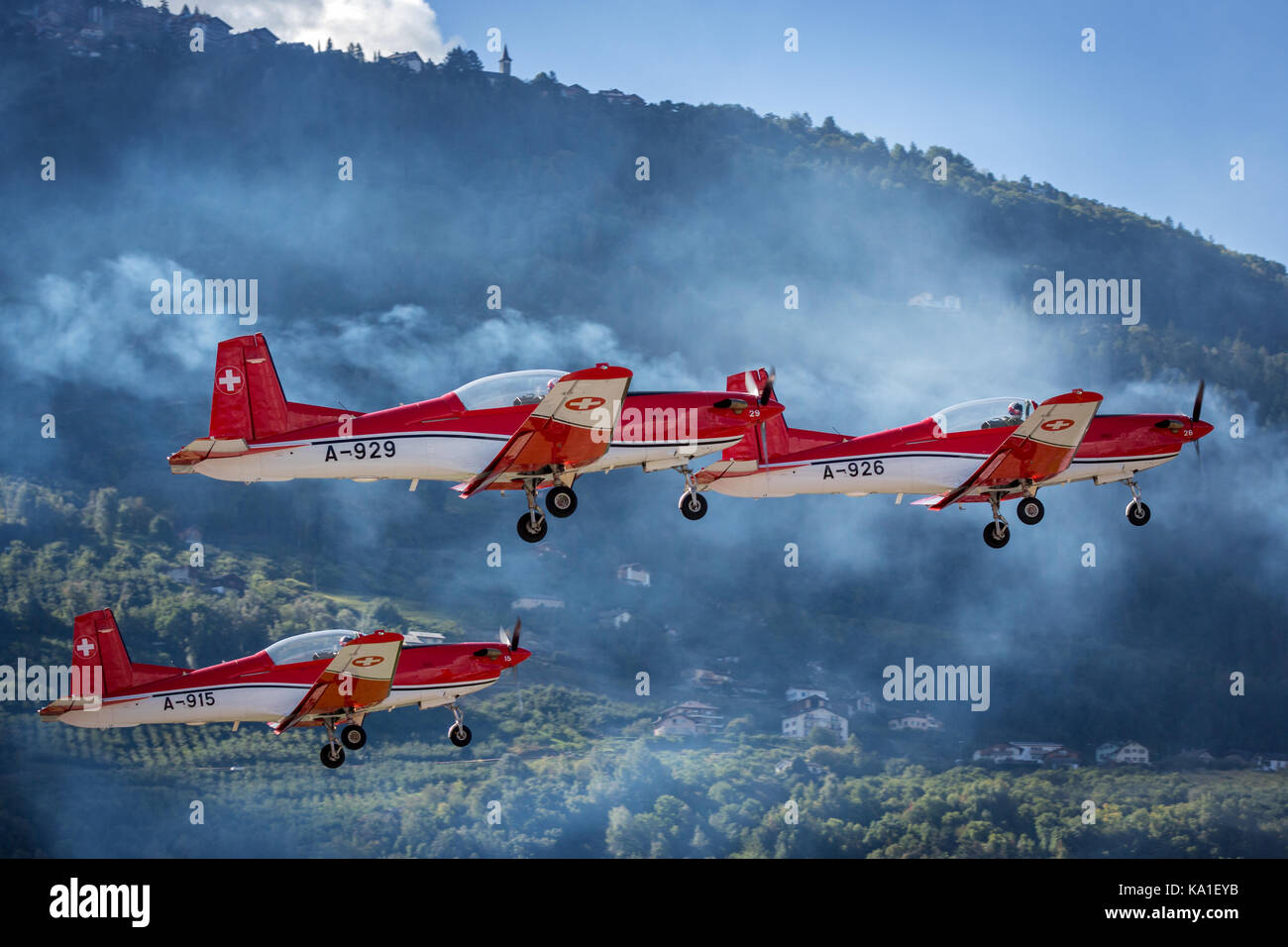 PC 7 Team, Pilatus PC-7, Sion Airshow, Sion, Valais, Switzerland - Stock Image