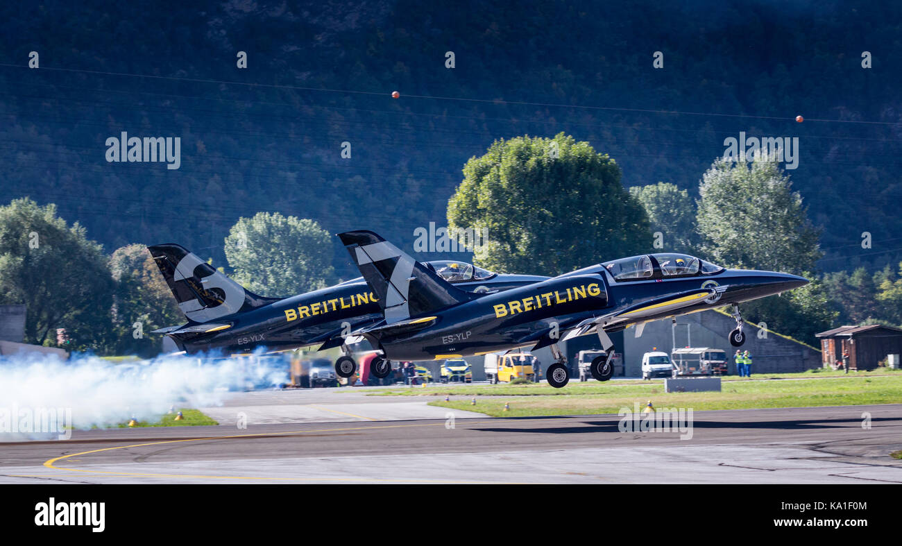 Breitling Jet Team, L 39 Albatros during take off, Sion Airshow, Sion, Valais, Switzerland - Stock Image