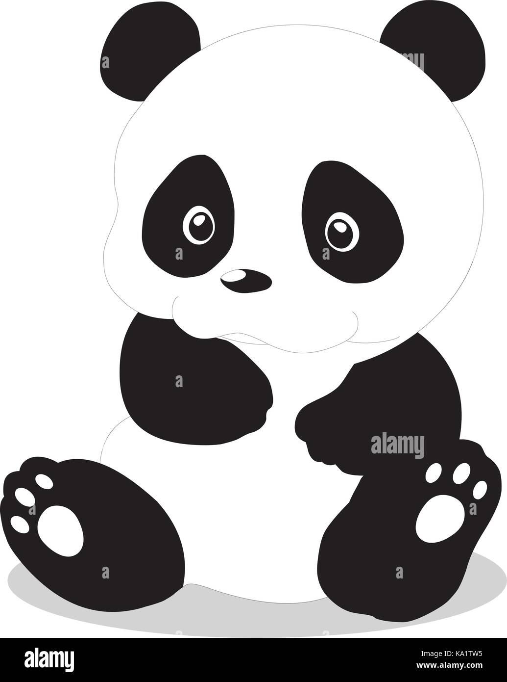 Cute Baby Panda Cartoon Stock Vector Art Illustration Vector