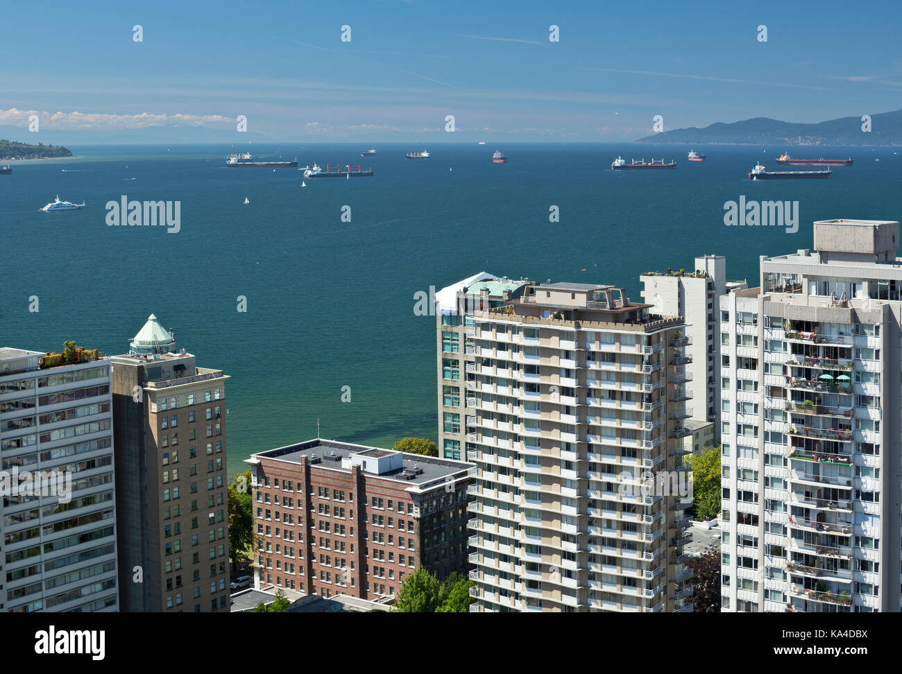 Vancouver Canada.  Aerial view of the waters of English Bay and the West End neighbourhood of Vancouver, British Stock Photo