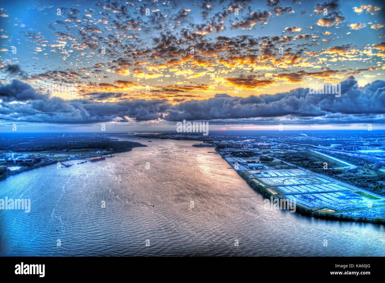 Aerial View of Heavy Cloud Cover at Sunset - Stock Image