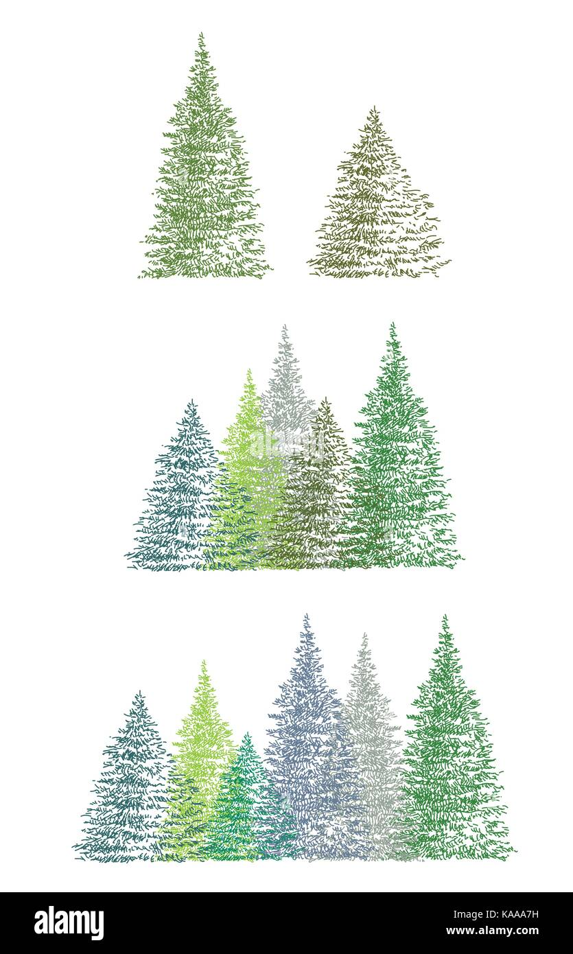 Set of colorful hand drawing Christmas tree (single and group ...