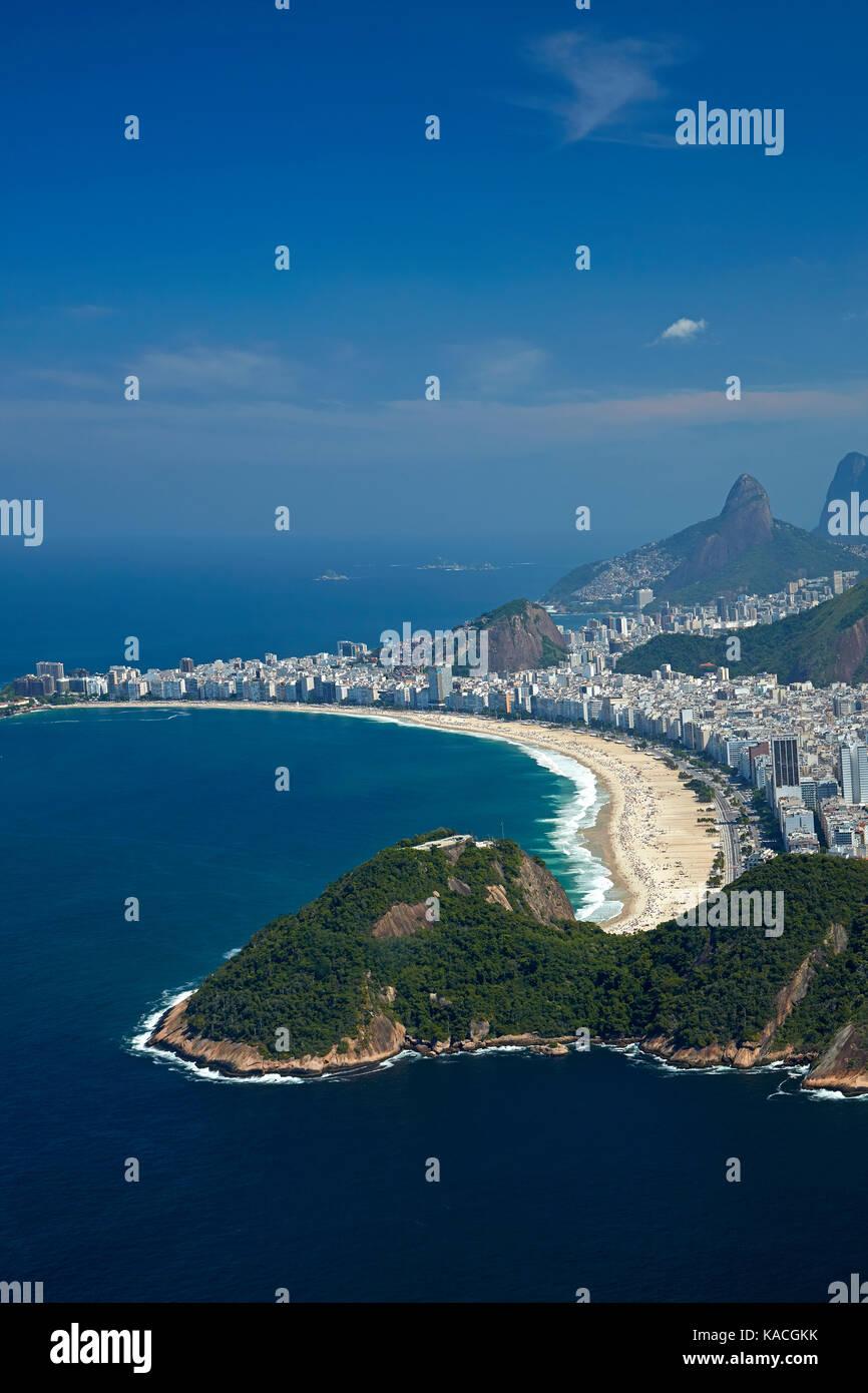 Morro do Leme (Leme Mountain), and Copacabana Beach, Rio de Janeiro, Brazil, South America - aerial - Stock Image
