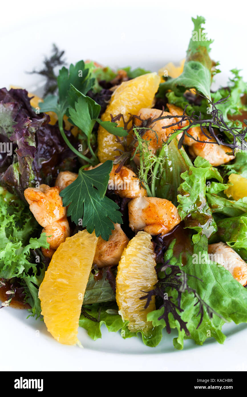 Fresh salad with chicken - Stock Image