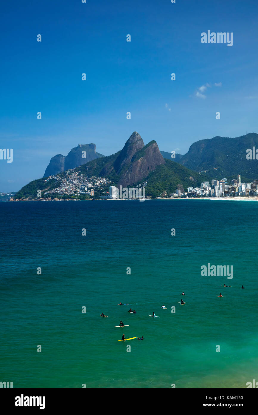 Surfers at Ipanema Beach, Rio de Janeiro, Brazil, South America - Stock Image