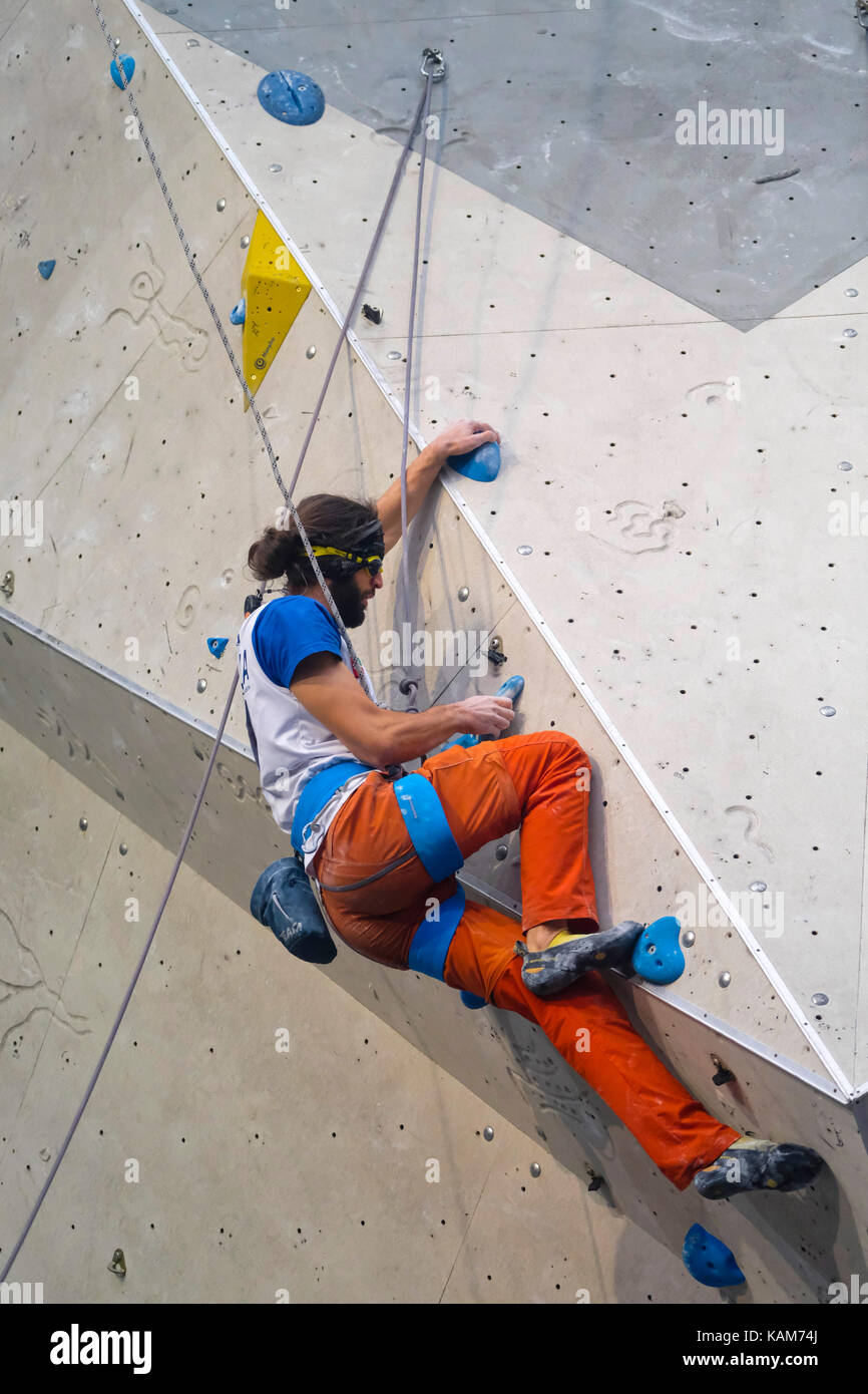 Matteo Stefani of Italy competes in Men's Visual Impairment B2 event of Paraclimbing Cup at  the International - Stock Image
