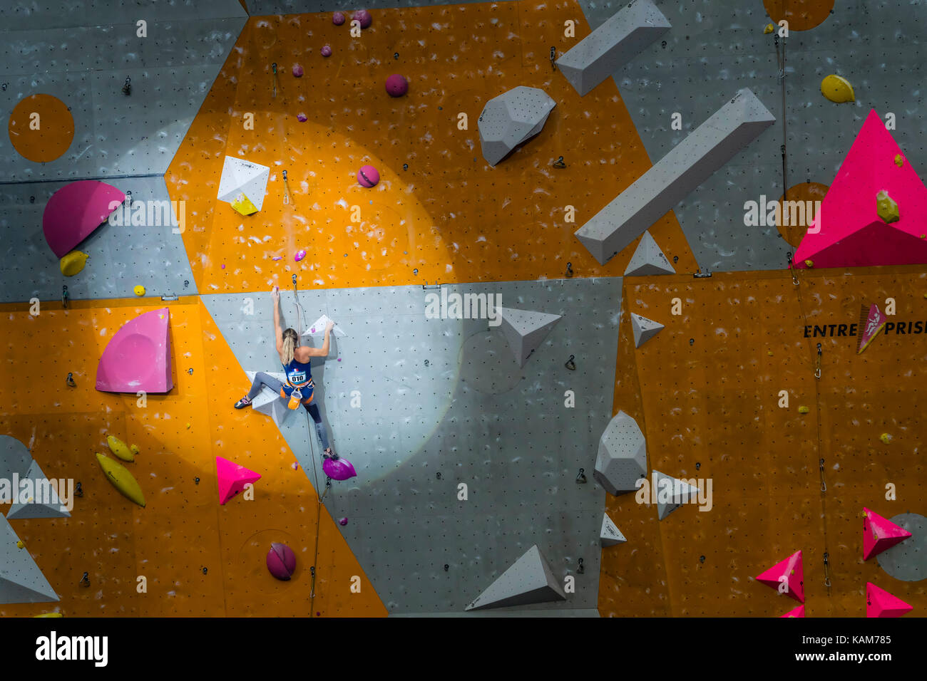 Julia Chanourdie of France in Women Lead event at  the International Federation of Sport Climbing (IFSC) World Cup - Stock Image
