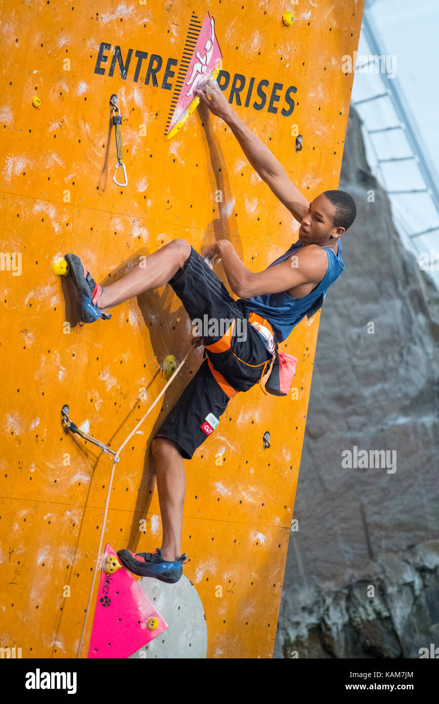 Kai Lightner of the USA  climbs in the lead semi-finals  at the International Federation of Sport Climbing (IFSC) - Stock Image