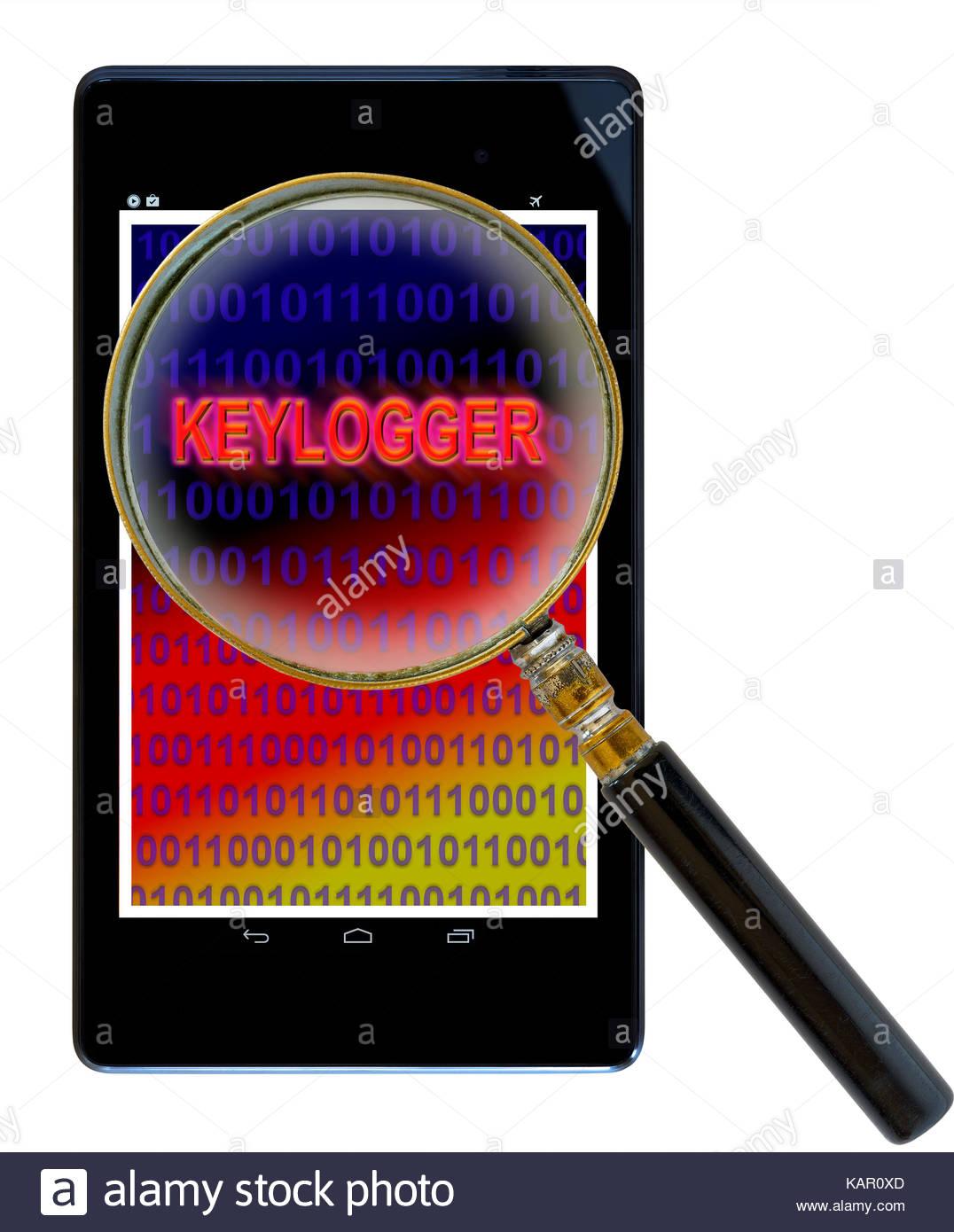 Keylogger shown on a tablet PC, Dorset, England, UK - Stock Image