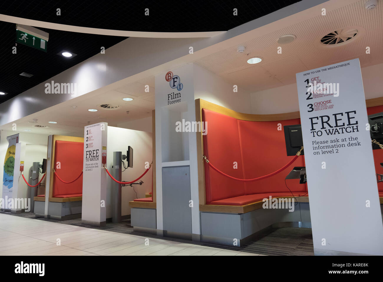 BFI Film booths in Birmingham Library - Stock Image