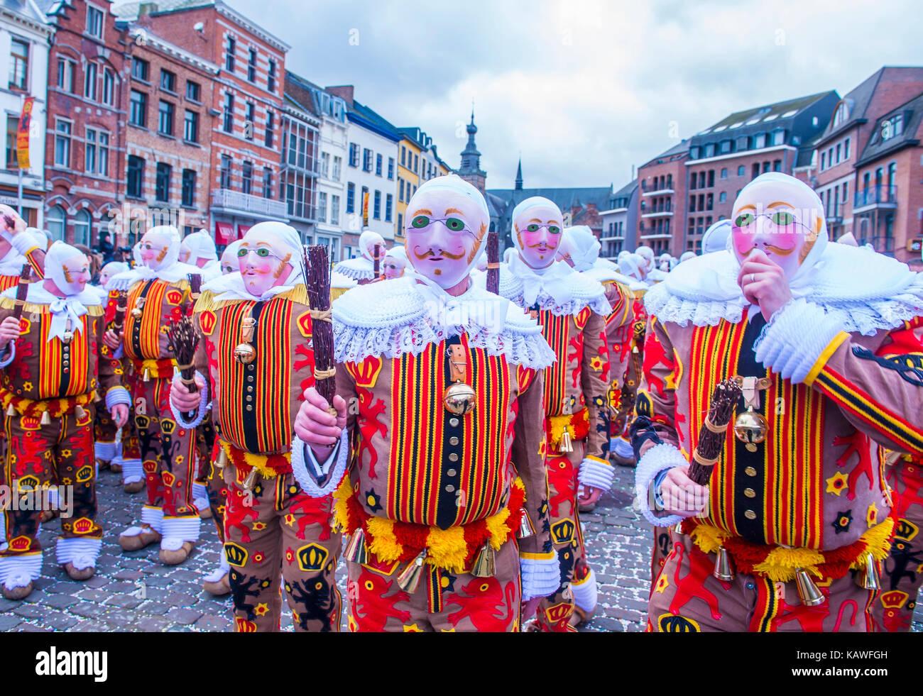 Participants in the Binche Carnival in Binche, Belgium Stock Photo
