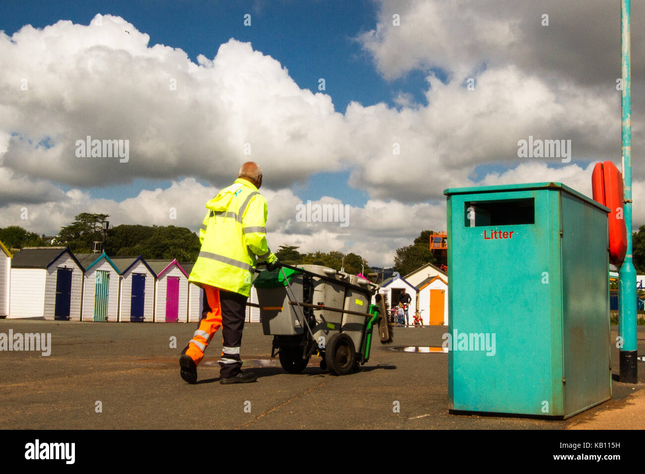 seaside beach rubbish bin litter collection, waste management - Stock Image