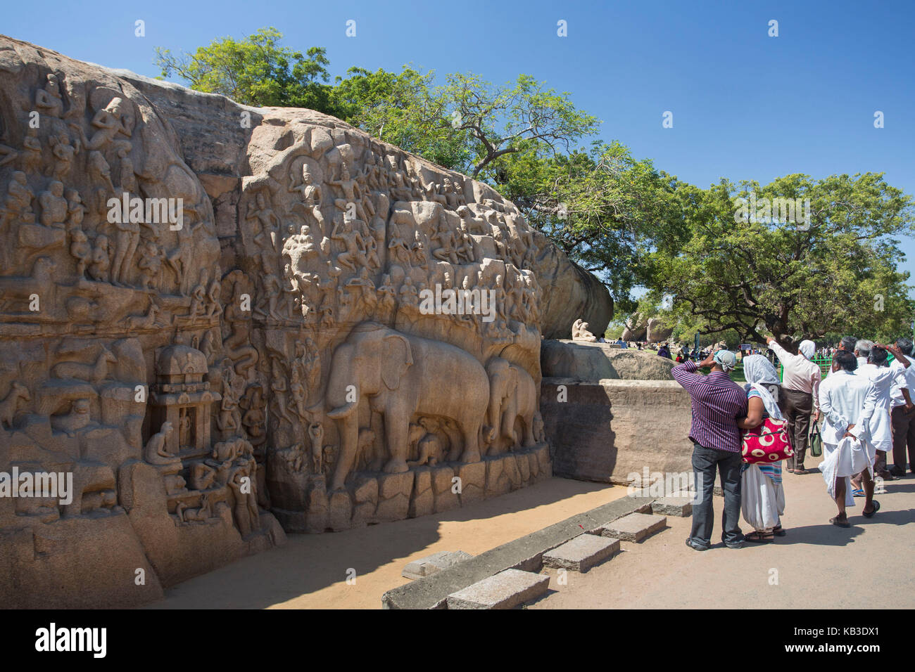 India, Tamil Nadu, Mamallapuram, penalty of the Arjuna, rock art, bas-relief - Stock Image
