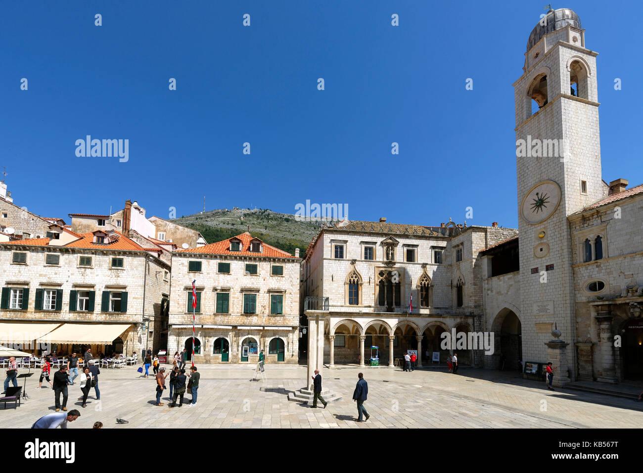 Croatia, Dalmatia, Dalmatian coast, Dubrovnik historical centre, listed as World Heritage by UNESCO, Luza square - Stock Image