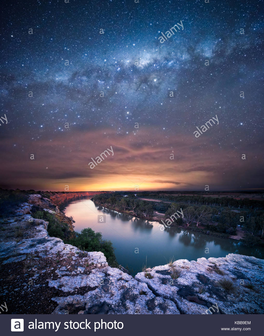 Milky Way over the Murray River - Stock Image