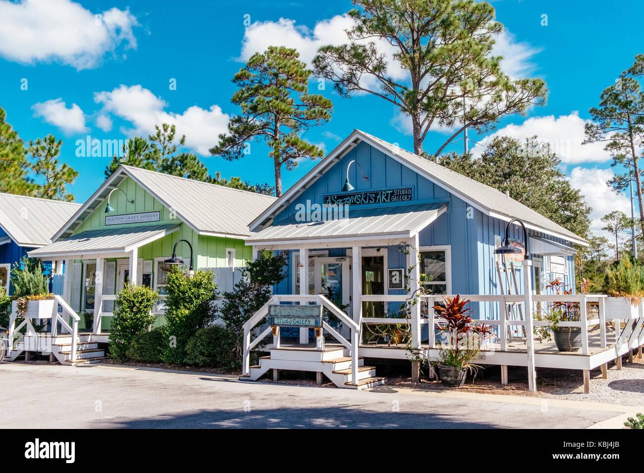 Small colorful shops near Grayton Beach a popular tourist destination on the Florida, USA, Gulf of Mexico, panhandleStock Photo