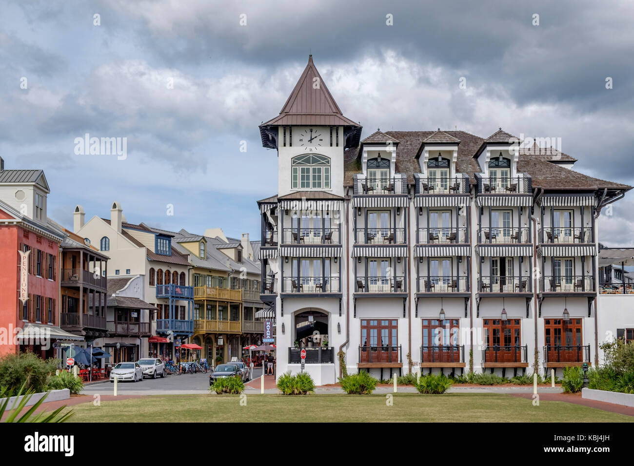 The Pearl Hotel exterior on the Gulf of Mexico, a beach side hotel in Rosemary Beach, Florida USA. Stock Photo