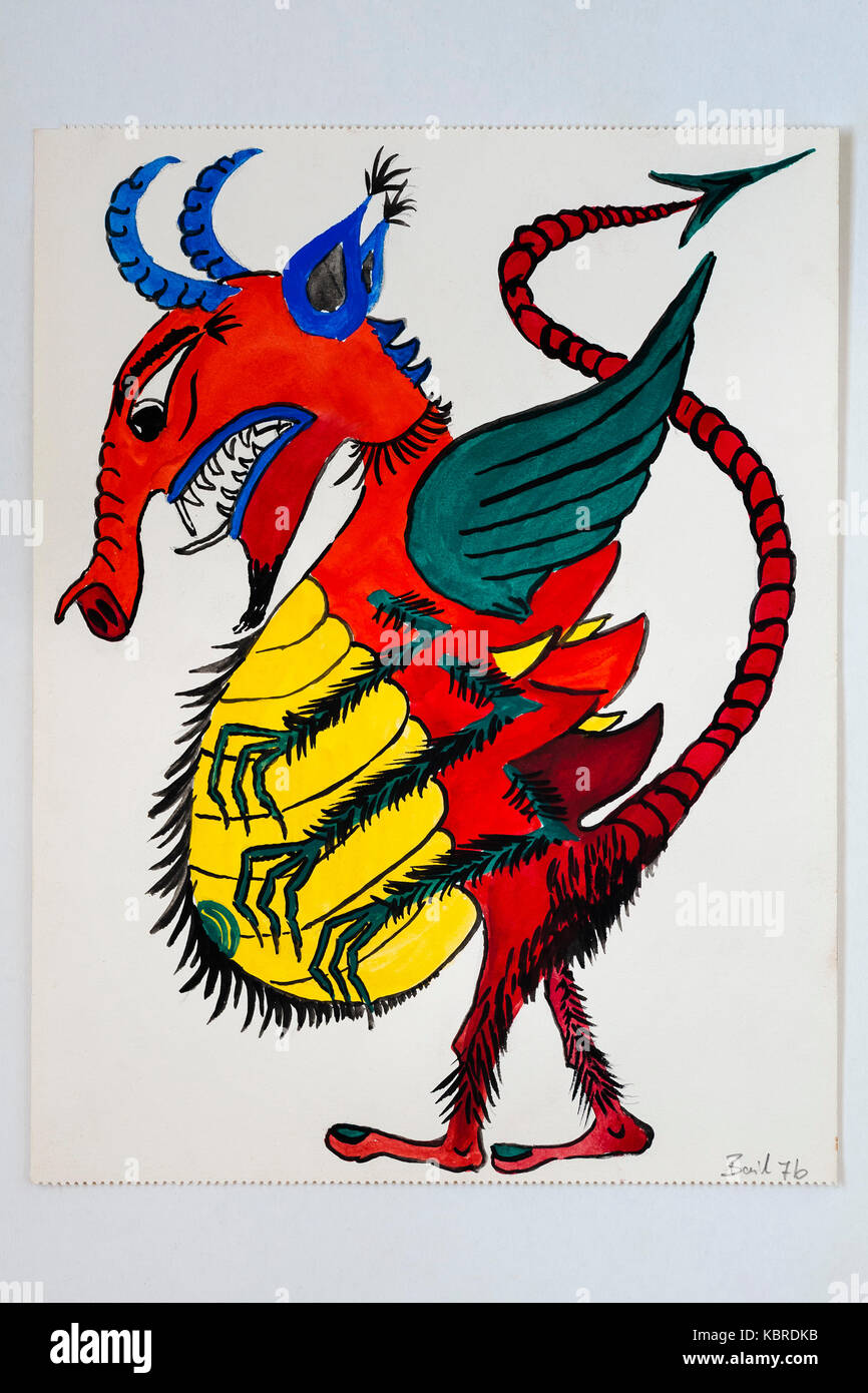 Dragon, Drawing, Children's drawing, 12 years, Germany - Stock Image