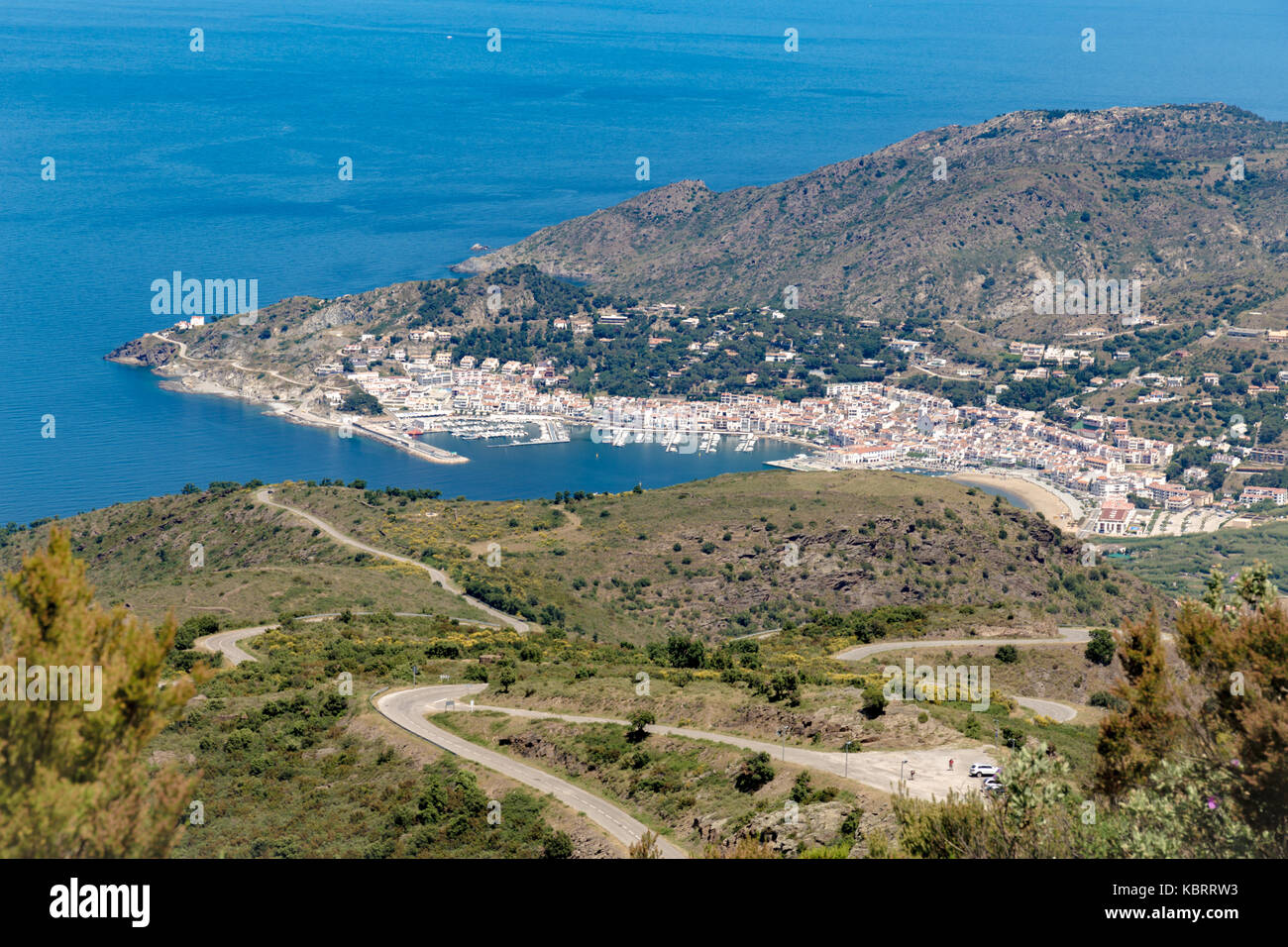 Spanish coastline city bay shot from top of the hill - Stock Image