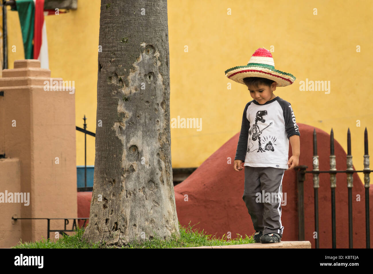 A young Mexican boy wearing a straw sombrero plays in the Jardin Allende during the week long fiesta of the patron - Stock Image