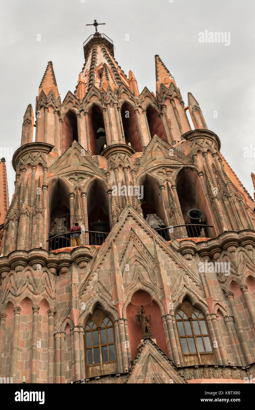 The Parroquia de San Miguel Arcangel church during the week long fiesta of the patron saint Saint Michael September - Stock Image