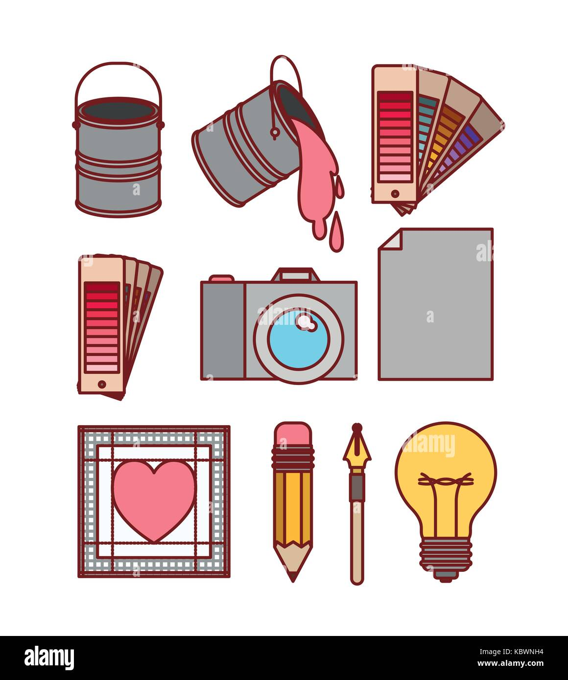 set work elements for graphic design on white background - Stock Image