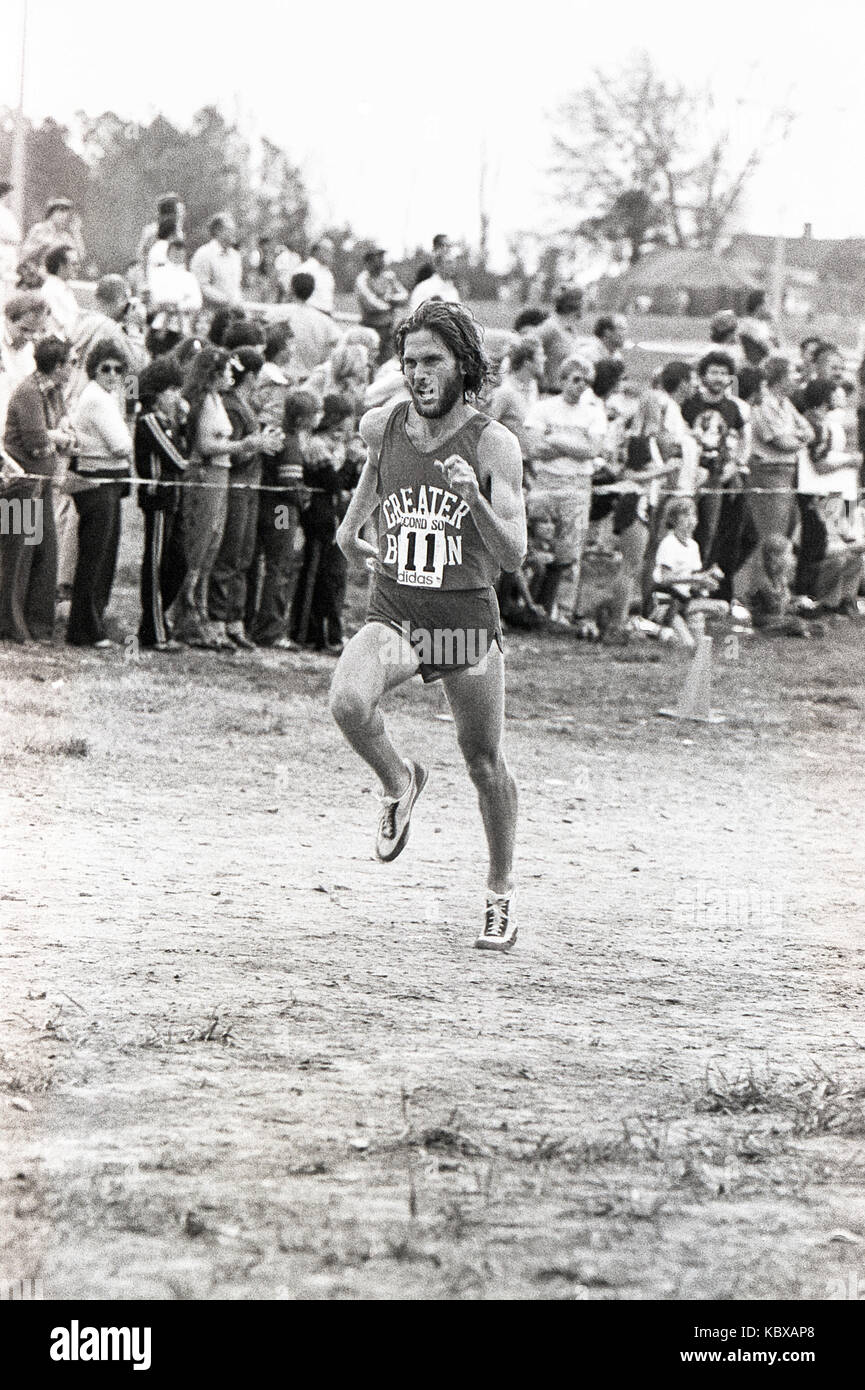 Greater Boston  runner  competing in the 1979 AAU Cross Country Championships. - Stock Image
