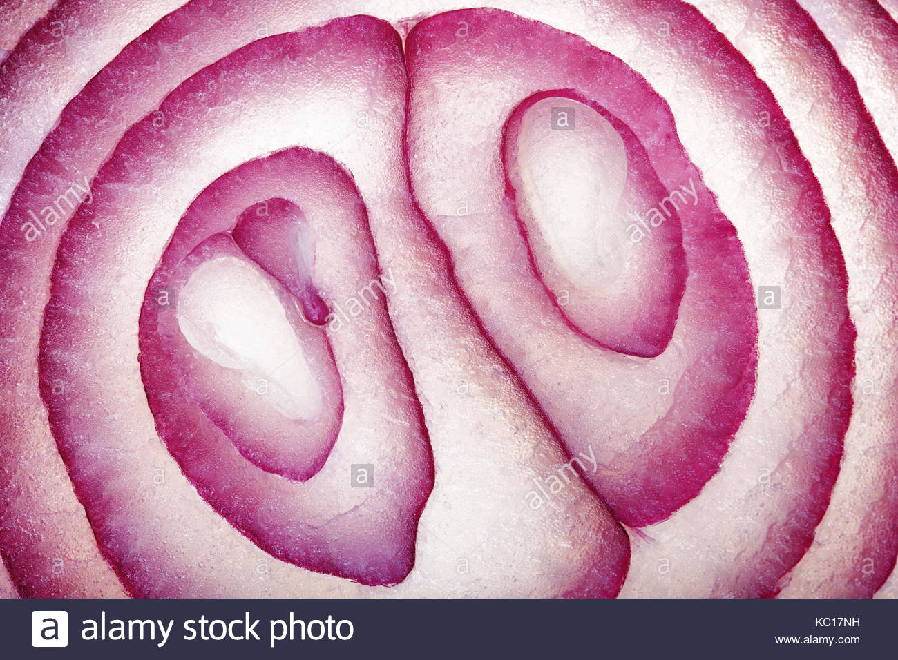 Abstract Food Art Pattern of Red Onion Cross-section photographed close-up and full frame - Stock Image