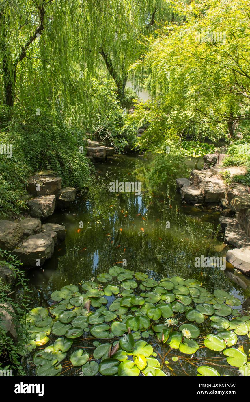 Lake in Humble Administrator's Garden, Suzhou, China - Stock Image