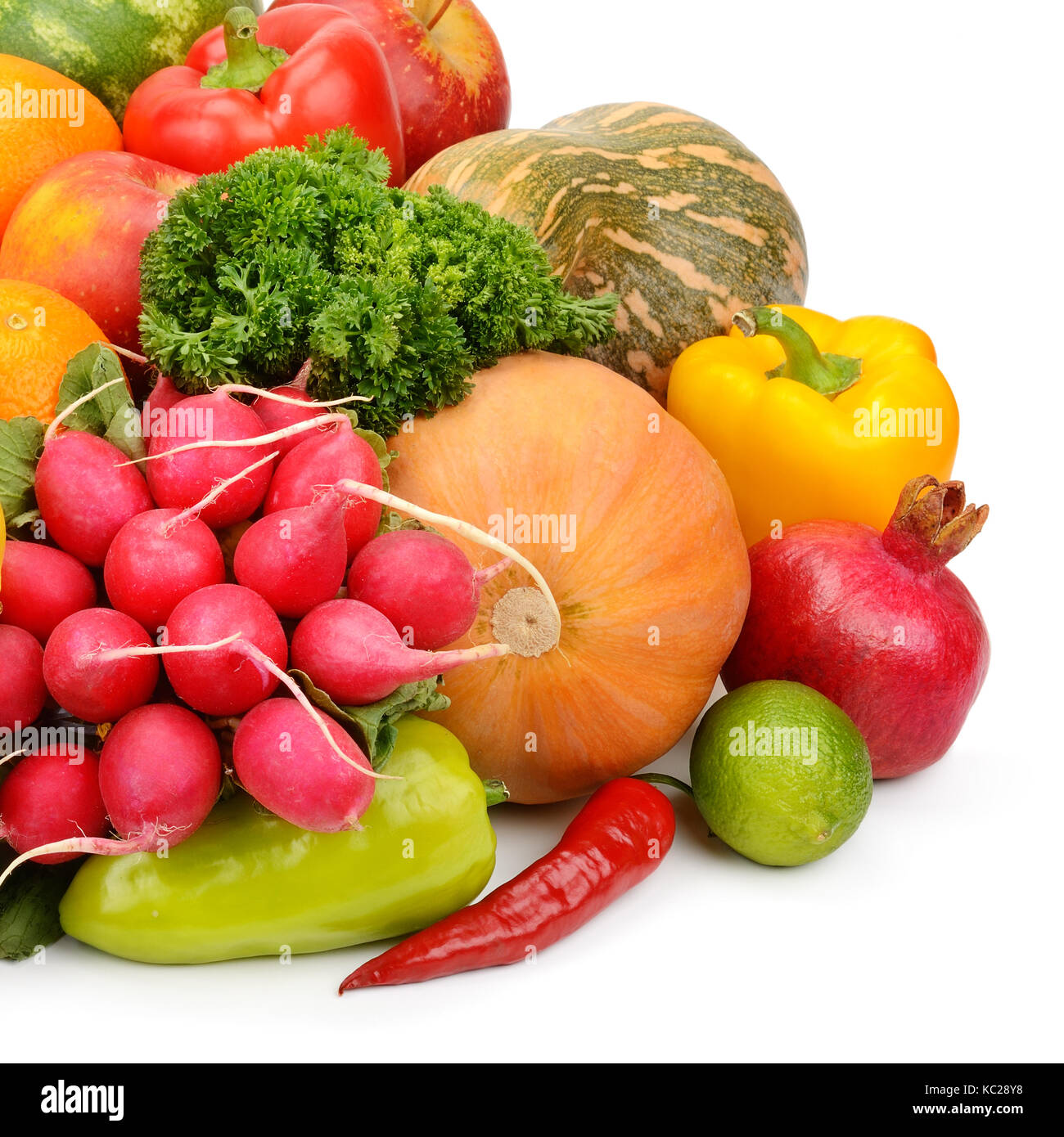 vegetables and fruits isolated on white background - Stock Image