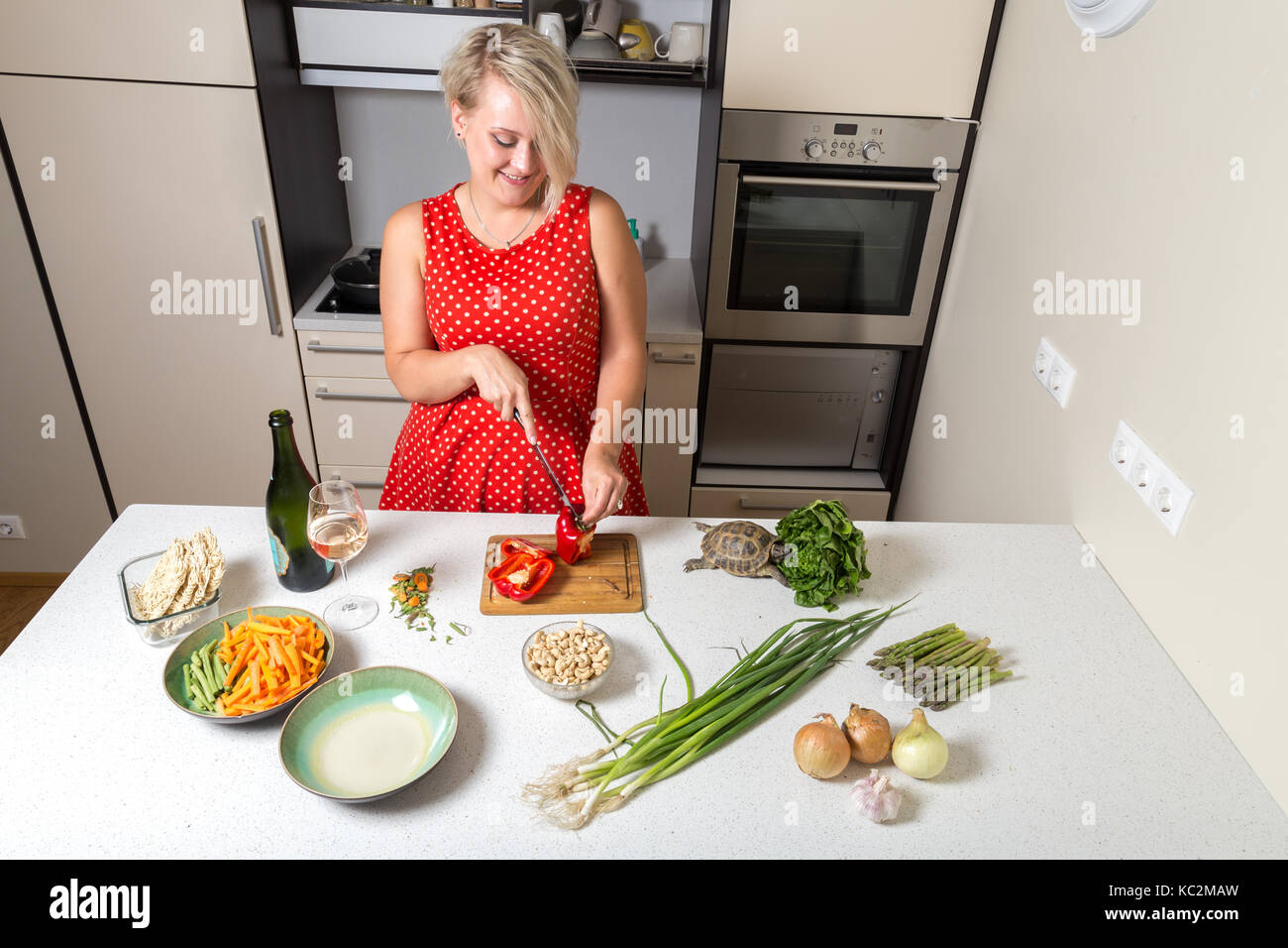 Girl cutting paprika and smiling while turtle eats - Stock Image