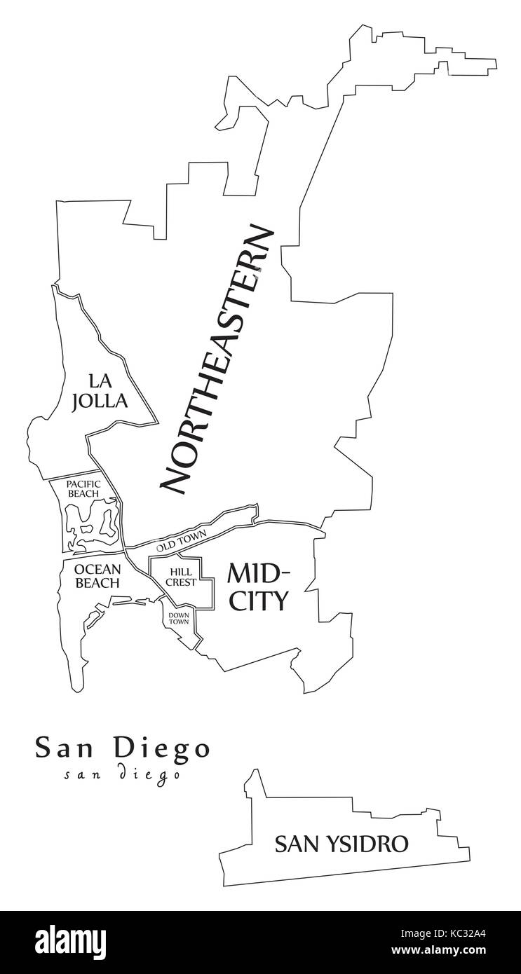 San Diego Map City.Modern City Map San Diego City Of The Usa With Boroughs And Titles