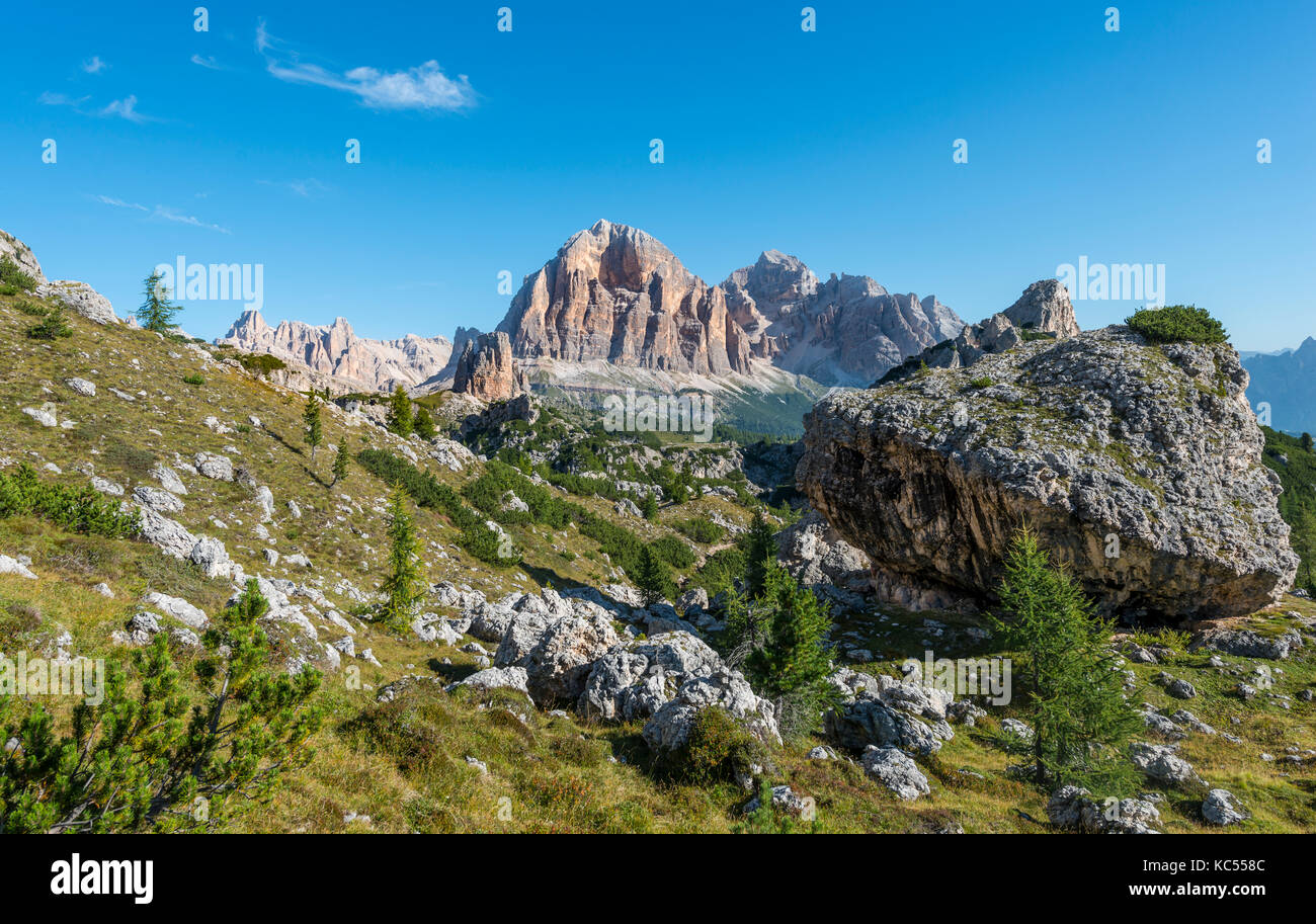 Hike to the Nuvolau and Averau, view of Tofane, Dolomites, South Tyrol, Trentino-Alto Adige, Italy - Stock Image