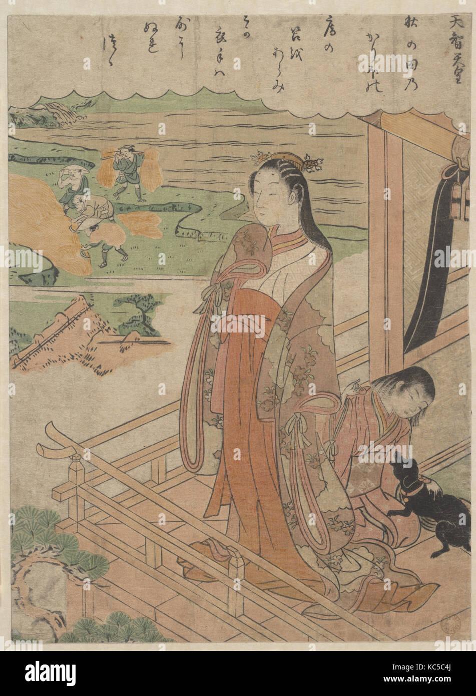 百人一首 天智天皇, Sympathy, Edo period (1615–1868), ca. 1768, Japan, Polychrome woodblock print; ink and color on paper, - Stock Image
