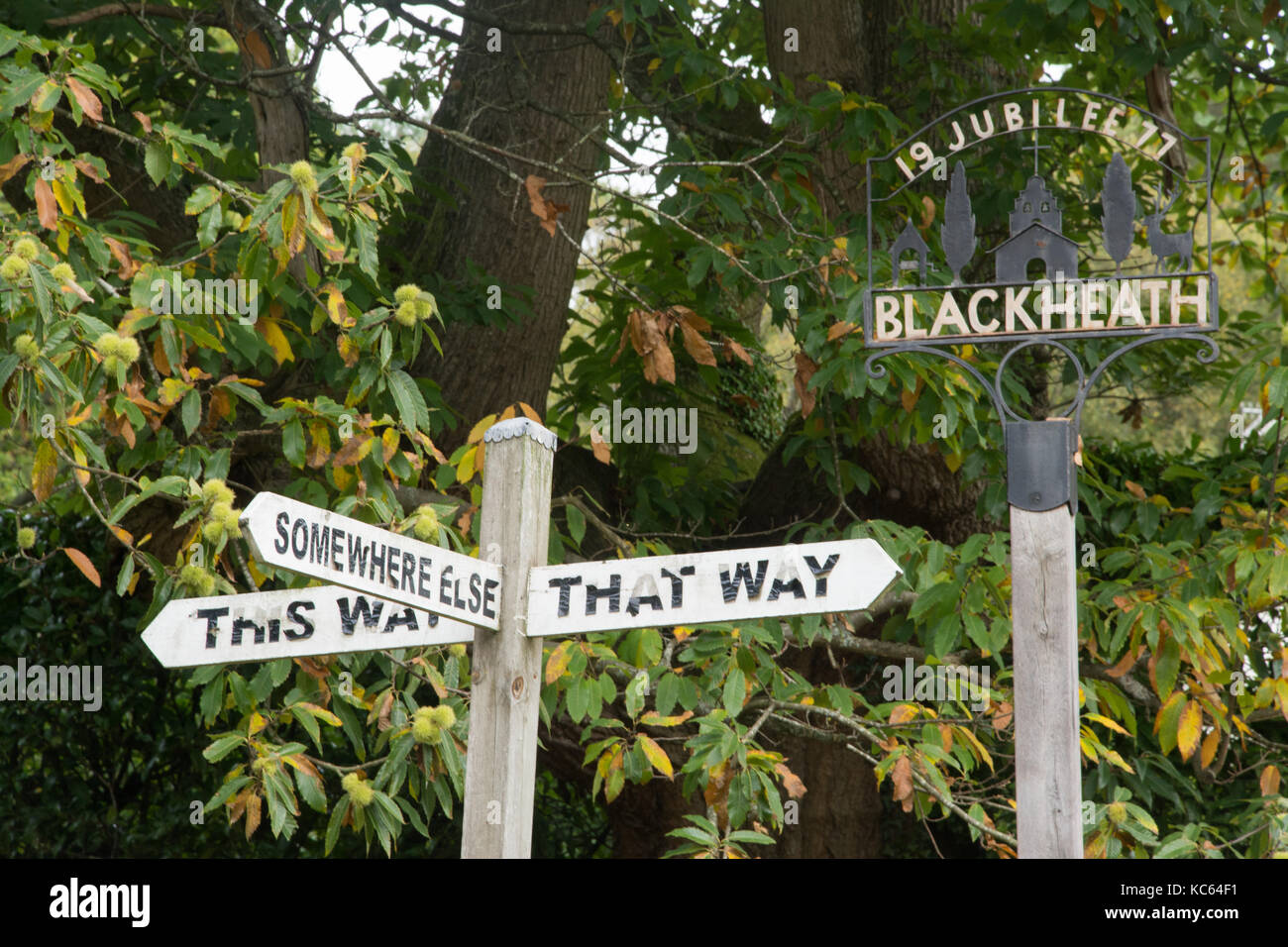 humorous-signpost-in-blackheath-village-surrey-uk-KC64F1.jpg