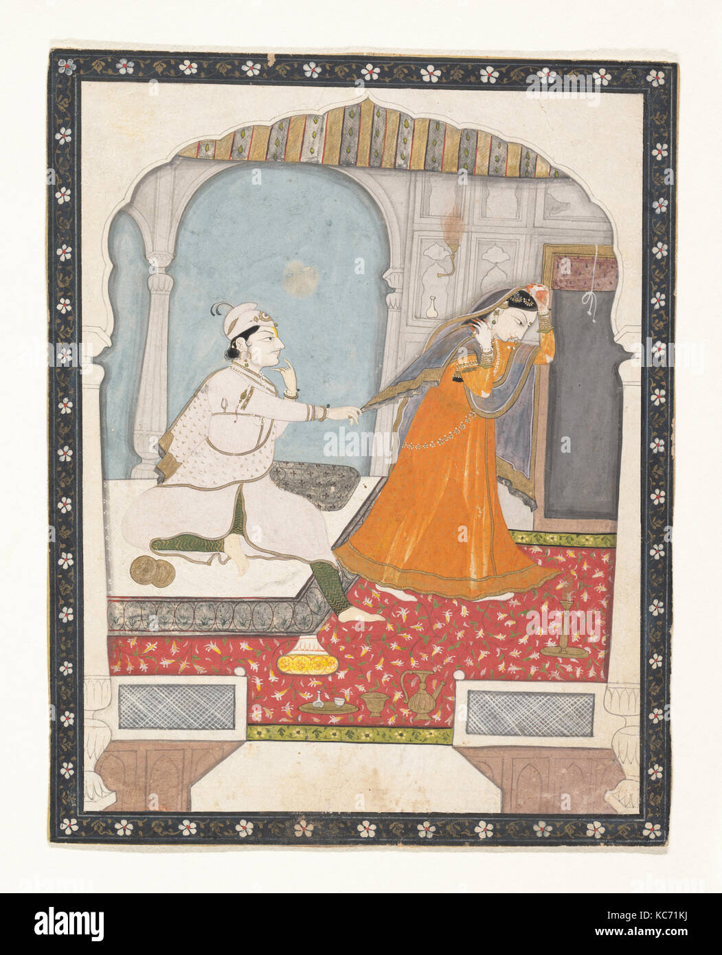 The Timid Bride, ca. 1800, India (Punjab Hills, Kangra), Ink, opaque watercolor, and gilt on paper, 7 1/4 x 5 13/16 - Stock Image