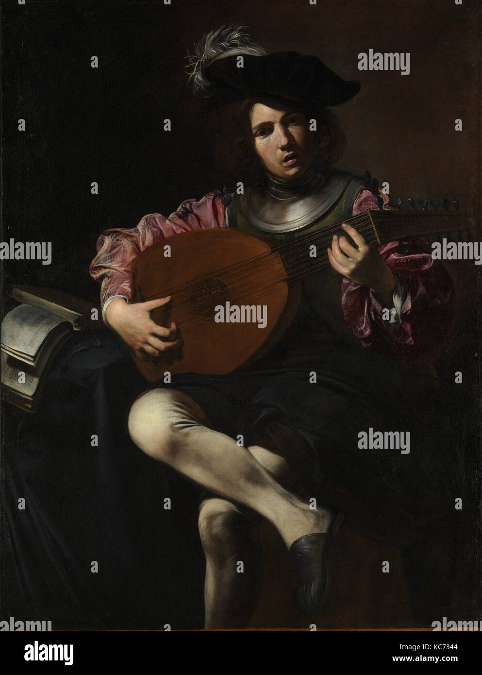 Lute Player, ca. 1625–26, Oil on canvas, 50 1/2 x 39 in. (128.3 x 99.1 cm), Paintings, Valentin de Boulogne (French, - Stock Image