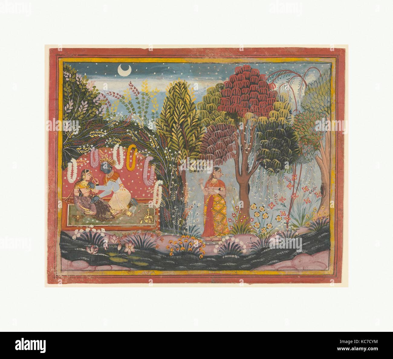 Krishna and Radha in a Bower:  Page From a Dispersed Gita Govinda, Sahibdin, ca. 1665 - Stock Image