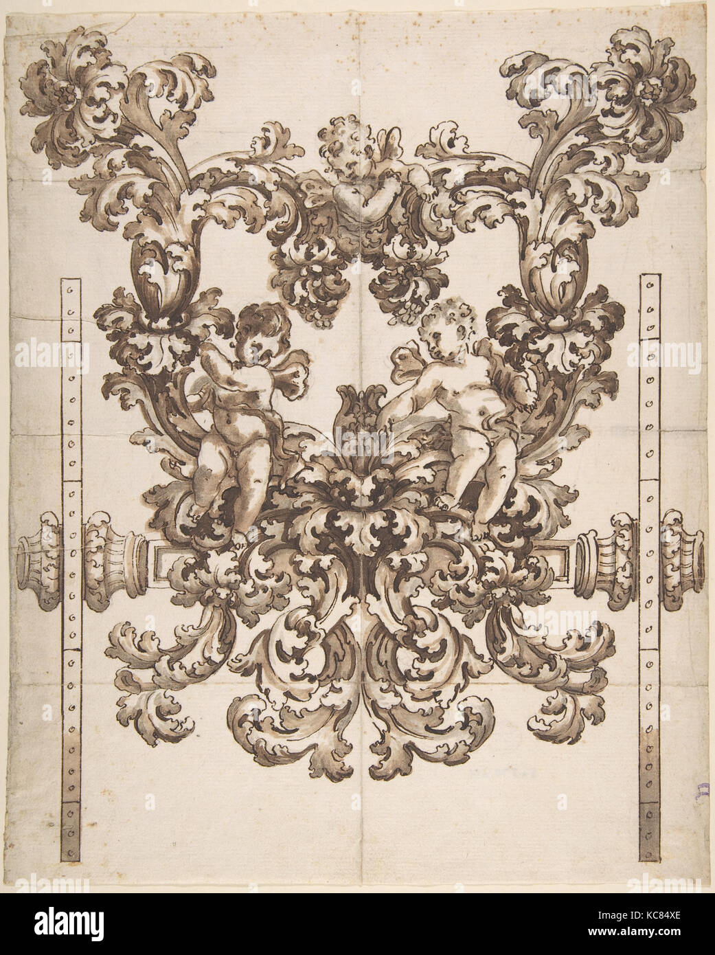 Rear View of an Elaborate Design for a Carved Wooden Carriage with Acanthus Leaves and Putti, Anonymous, Italian - Stock Image