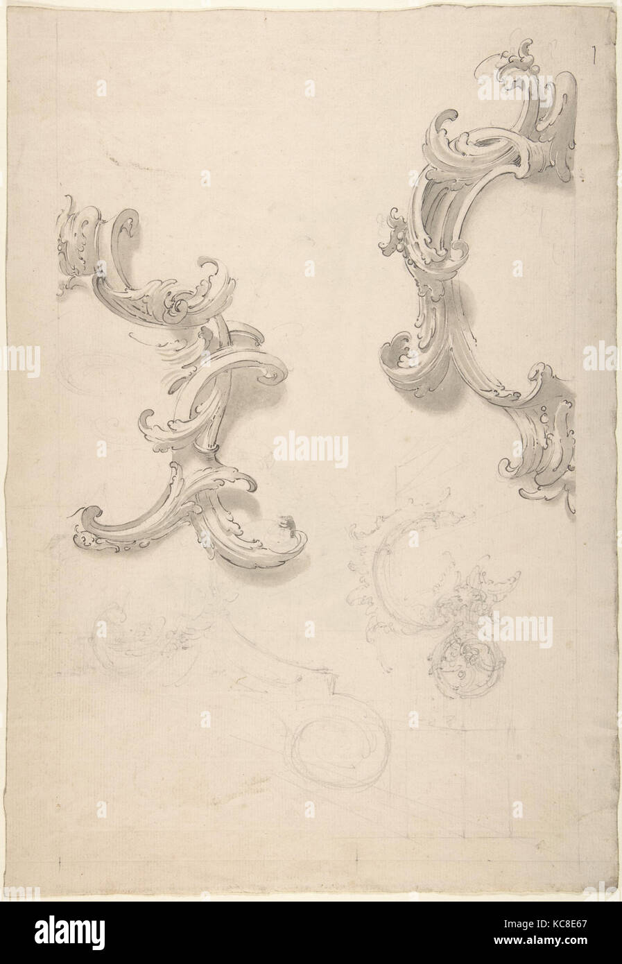 Ornamental Design with Acanthus Leaves (recto), Capital (verso), Anonymous, Italian, 18th century - Stock Image