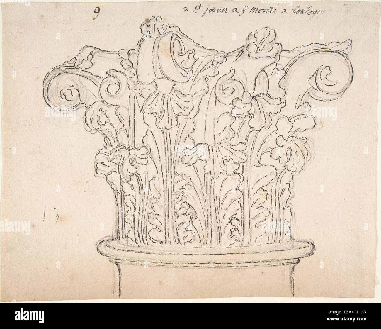 Capital with Acanthus Leaves, Anonymous, French, 18th century - Stock Image