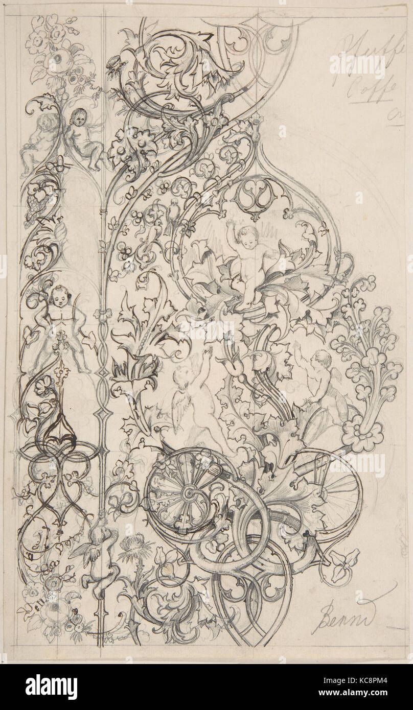 Gothic Ornament with Putti and Acanthus Leaves, Attributed to Bernd, 19th century - Stock Image