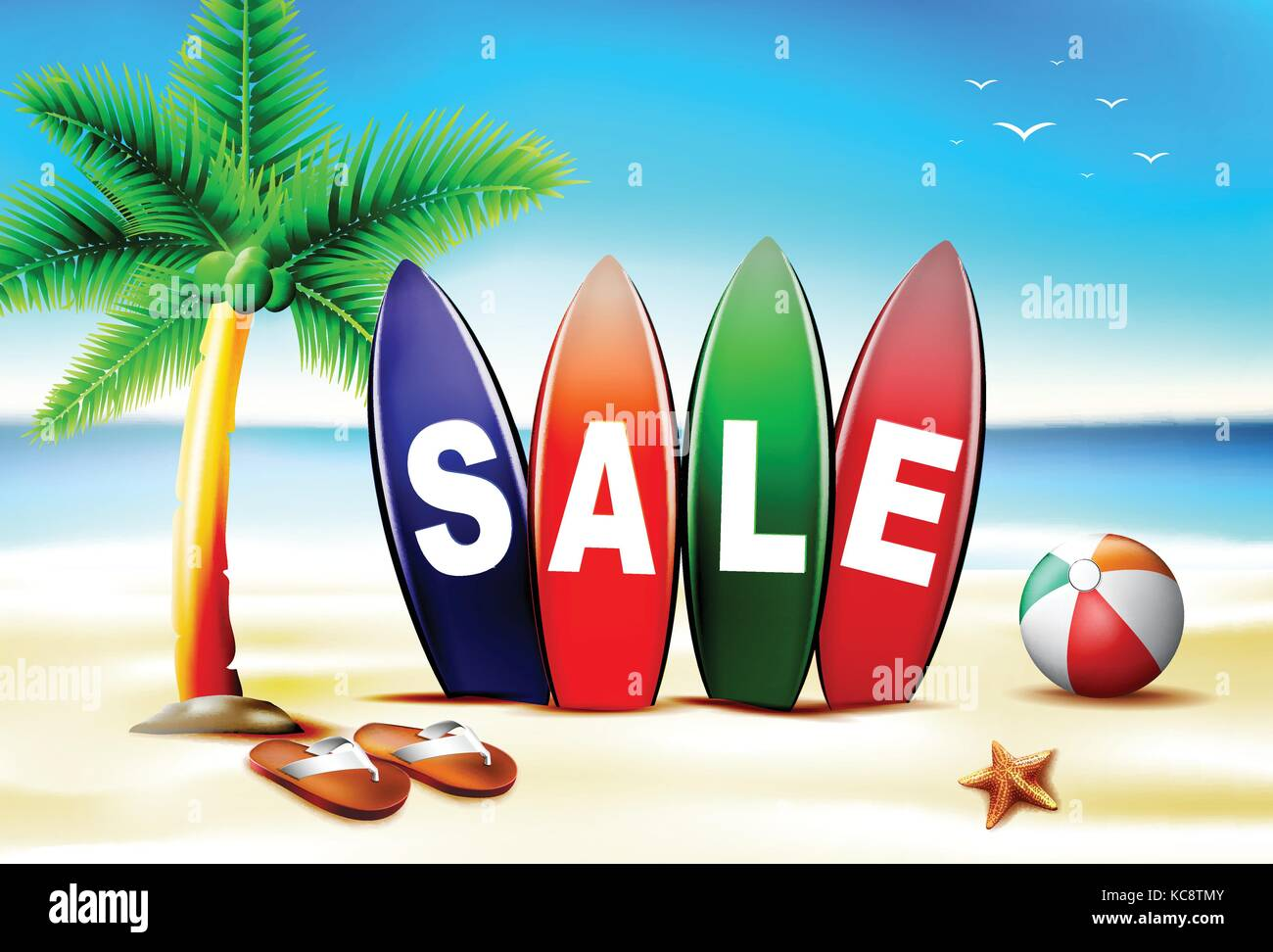 Summer Sale Text In Surf Board In Front Of Seashore With